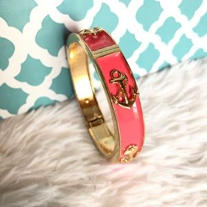 Jewelry - Coral Pink Enamel Gold Tone Anchor Bracelet Cuff